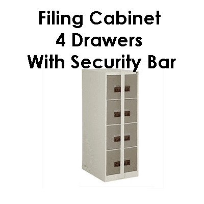 Office 4 drawer filing cabinet-with-security-bar