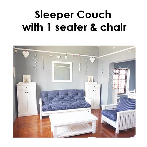 Beach house Sleeper Couch-with-1 seater chair